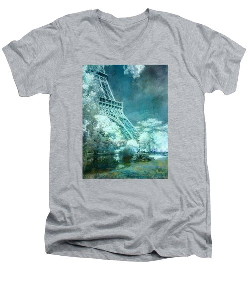 Parisian Dream Men's V-Neck T-Shirt by John Rivera