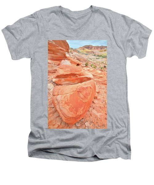 Men's V-Neck T-Shirt featuring the photograph Park Road View In Valley Of Fire by Ray Mathis