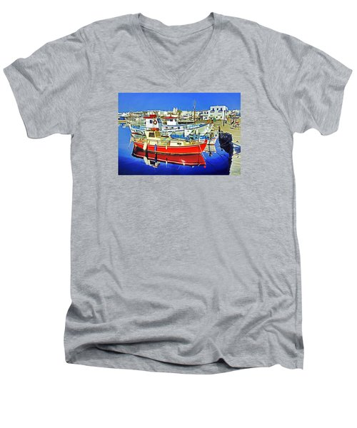 Paros Fishing Boats Men's V-Neck T-Shirt by Dennis Cox WorldViews