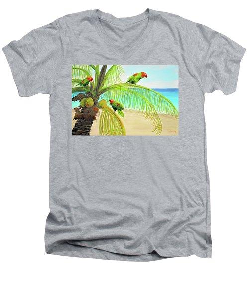 Parrot Beach Men's V-Neck T-Shirt