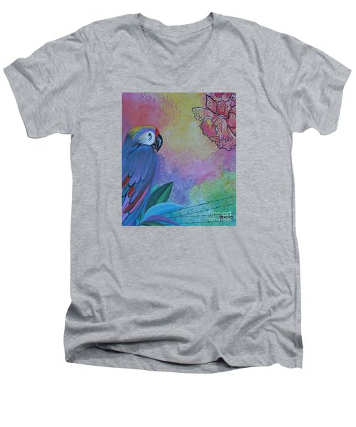 Parrot In Paradise Men's V-Neck T-Shirt