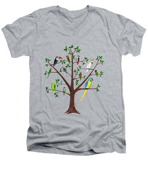Parrot Tree Men's V-Neck T-Shirt by Rita Palmer