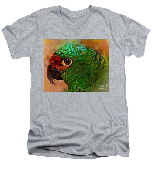 Parrote Men's V-Neck T-Shirt by John Kolenberg