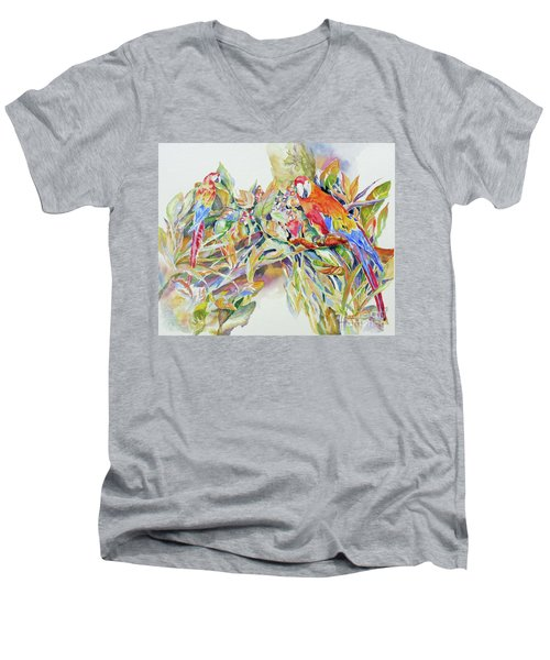 Parrots In Paradise Men's V-Neck T-Shirt by Mary Haley-Rocks