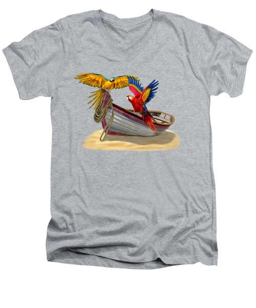 Parrots Of The Caribbean Men's V-Neck T-Shirt by Glenn Holbrook
