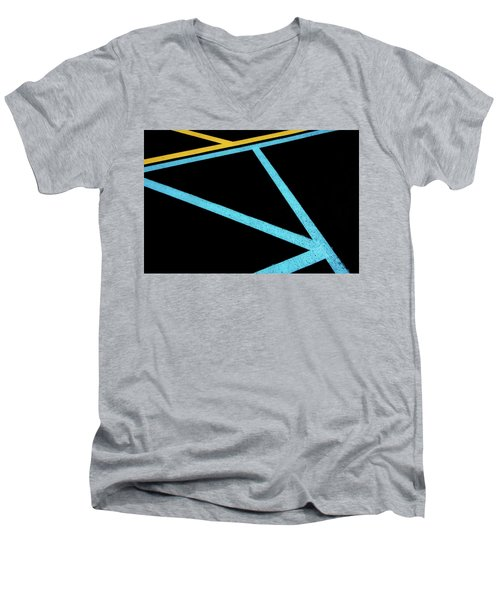 Men's V-Neck T-Shirt featuring the photograph Partallels And Triangles In Traffic Lines Scene by Gary Slawsky