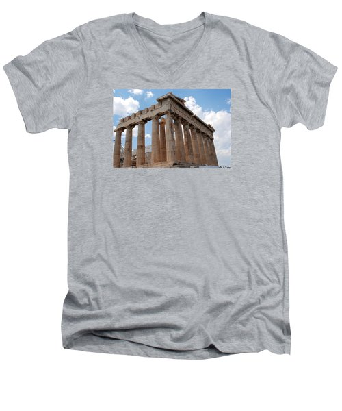 Men's V-Neck T-Shirt featuring the photograph Parthenon Side View by Robert Moss