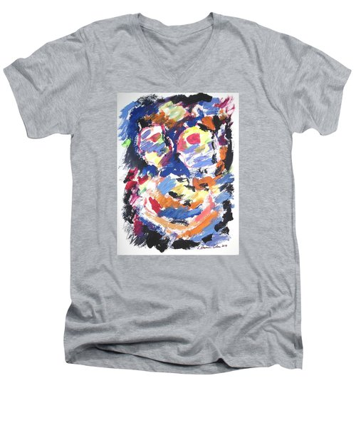 Men's V-Neck T-Shirt featuring the painting Partial Blackout by Esther Newman-Cohen