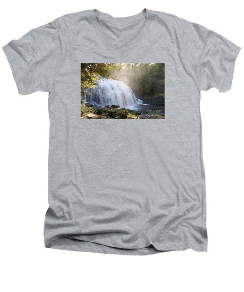 Men's V-Neck T-Shirt featuring the photograph Partridge Falls by Sandra Updyke