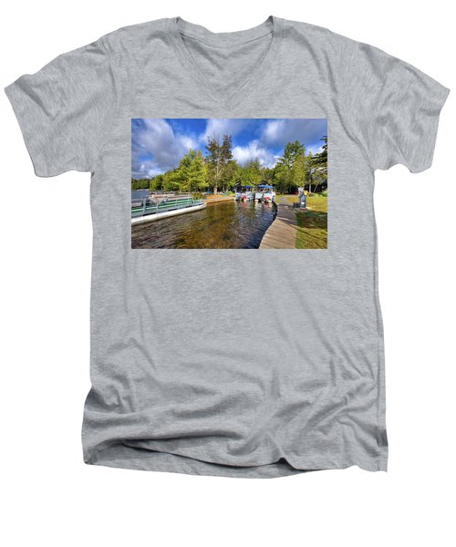 Men's V-Neck T-Shirt featuring the photograph Party Barges At Palmer Point by David Patterson