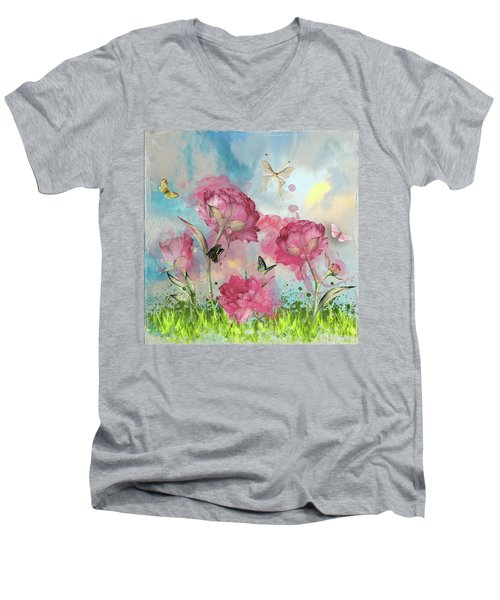 Party In The Posies Men's V-Neck T-Shirt by Diana Boyd