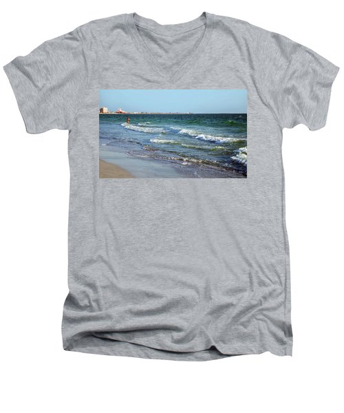 Passagrill Beach Men's V-Neck T-Shirt by Ginny Schmidt