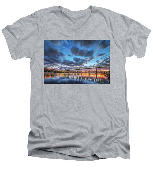 Passing Clouds Above Chattanooga Men's V-Neck T-Shirt by Steven Llorca