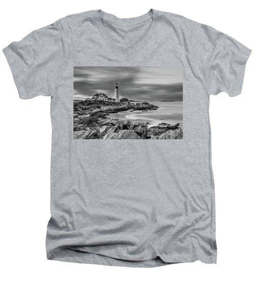 Passing Storm At Portland Head Light Men's V-Neck T-Shirt