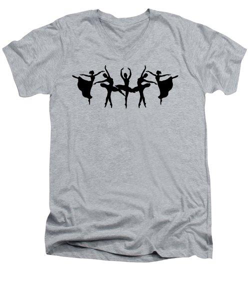 Passionate Dance Ballerina Silhouettes Men's V-Neck T-Shirt by Irina Sztukowski
