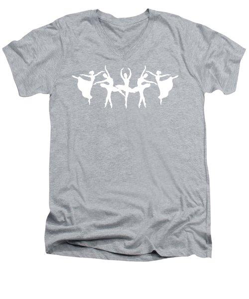 Passionate Dance Ballerinas Silhouettes In White Men's V-Neck T-Shirt by Irina Sztukowski