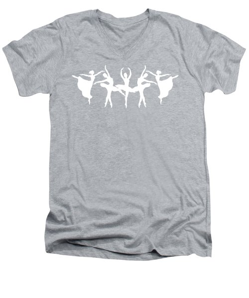 Passionate Dance Ballerinas Silhouettes In White Men's V-Neck T-Shirt
