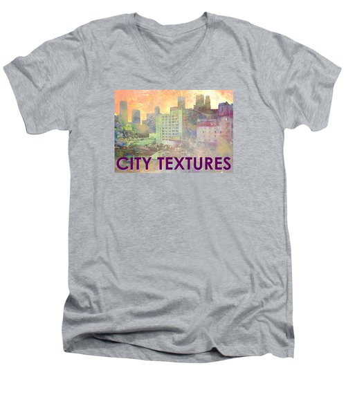 Men's V-Neck T-Shirt featuring the mixed media Pastel City Textures by John Fish