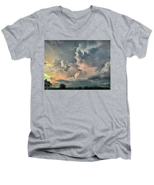 Pastel Clouds Men's V-Neck T-Shirt by Walt Foegelle