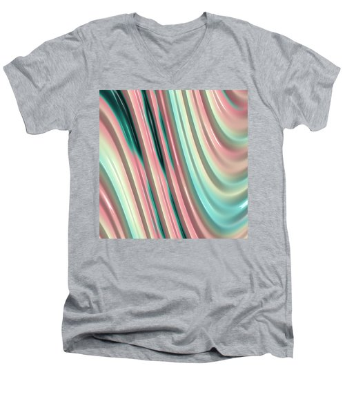 Men's V-Neck T-Shirt featuring the photograph Pastel Fractal 2 by Bonnie Bruno