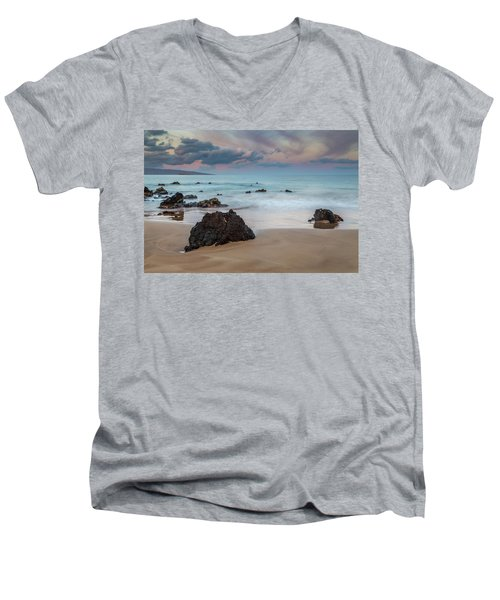 Men's V-Neck T-Shirt featuring the photograph Pastel Hawaii Sunrise by Pierre Leclerc Photography