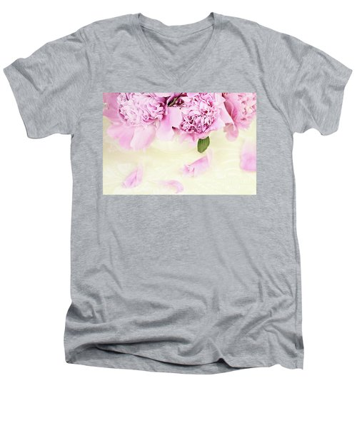 Pastel Pink Peonies  Men's V-Neck T-Shirt by Stephanie Frey