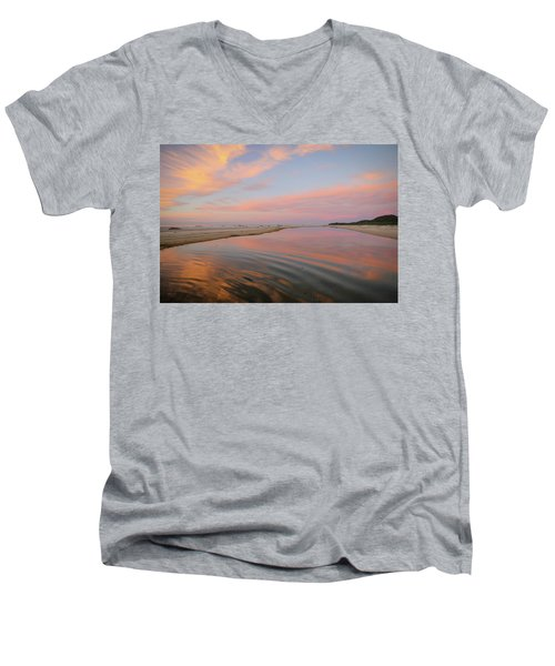 Pastel Skies And Beach Lagoon Reflections Men's V-Neck T-Shirt