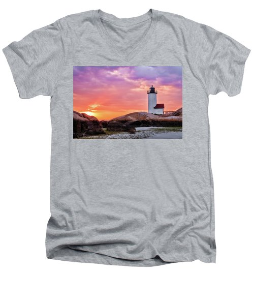 Pastel Sunset, Annisquam Lighthouse Men's V-Neck T-Shirt