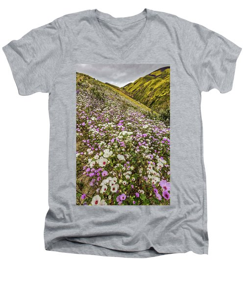 Men's V-Neck T-Shirt featuring the photograph Pastel Super Bloom by Peter Tellone