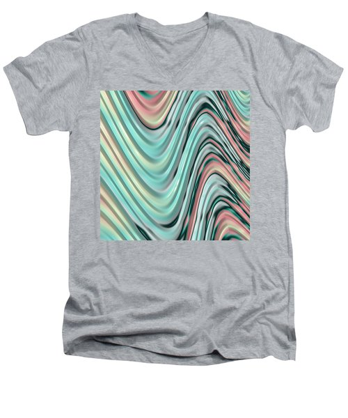 Men's V-Neck T-Shirt featuring the digital art Pastel Zigzag by Bonnie Bruno