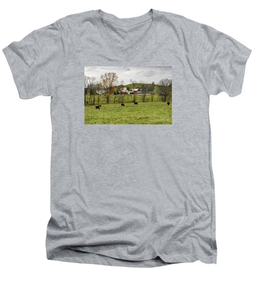 Men's V-Neck T-Shirt featuring the photograph Pastoral by Larry Ricker