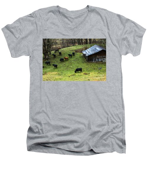 Pasture Field And Cattle Men's V-Neck T-Shirt by Thomas R Fletcher