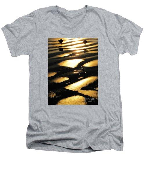 Patchwork Daytona Beach And Seagulls Men's V-Neck T-Shirt