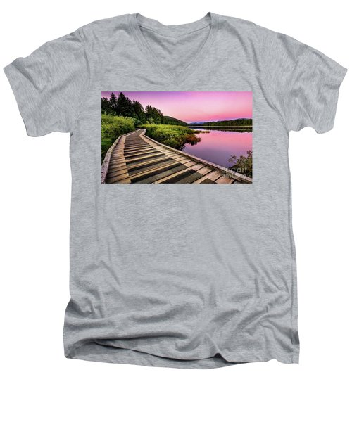 Path By The Lake Men's V-Neck T-Shirt by Rod Jellison