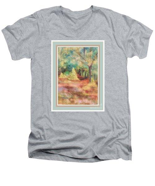 Men's V-Neck T-Shirt featuring the photograph Path Shortcut Green Border by Shirley Moravec
