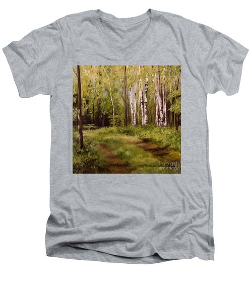 Men's V-Neck T-Shirt featuring the painting Path To The Birches by Laurie Rohner