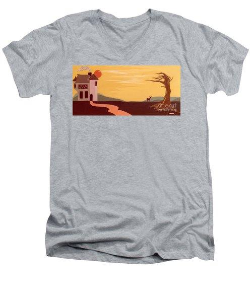 Cartoon Castle Men's V-Neck T-Shirt