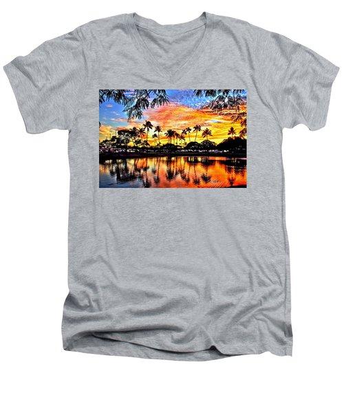 Men's V-Neck T-Shirt featuring the digital art Path To The Sea by DJ Florek
