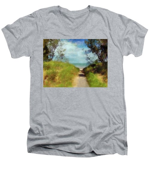 Path To Whihala Beach 2 Men's V-Neck T-Shirt by Cedric Hampton