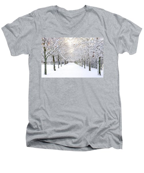 Pathway In Snow Men's V-Neck T-Shirt by Marius Sipa