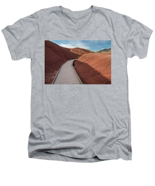 Pathway Through The Reds Men's V-Neck T-Shirt by Greg Nyquist
