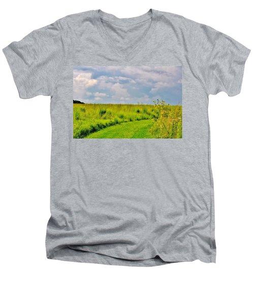 Pathway Through Wildflowers Men's V-Neck T-Shirt