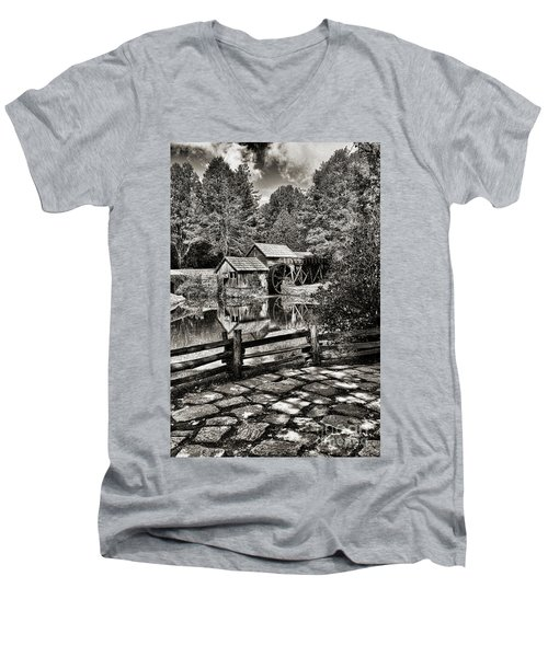 Men's V-Neck T-Shirt featuring the photograph Pathway To Marby Mill In Black And White by Paul Ward