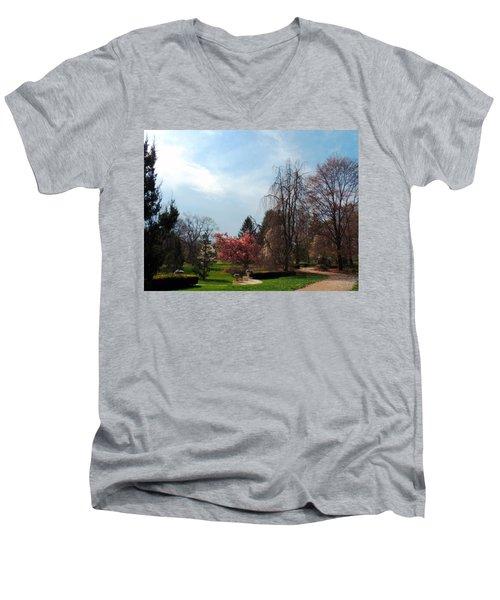 Pathway To Spring Men's V-Neck T-Shirt by Teresa Schomig