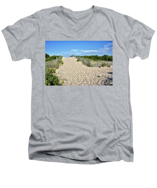 Pathway To The Beach - Delaware Men's V-Neck T-Shirt by Brendan Reals