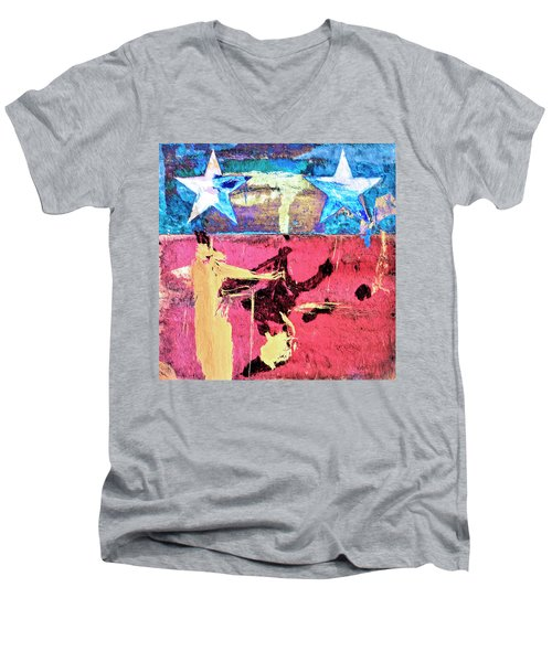 Men's V-Neck T-Shirt featuring the painting Patriot Act by Dominic Piperata