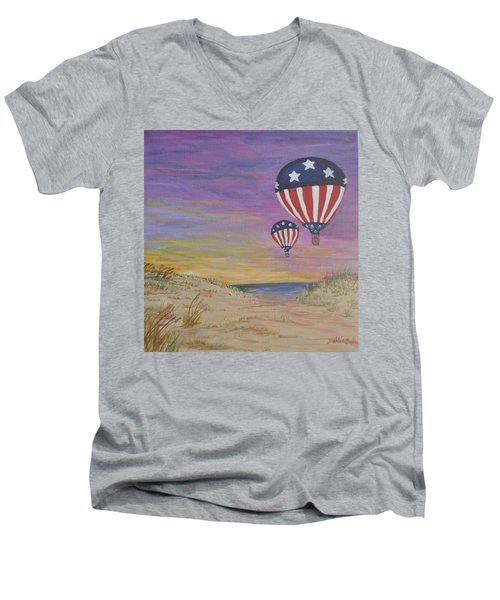 Men's V-Neck T-Shirt featuring the painting Patriotic Balloons by Debbie Baker