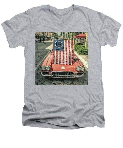 Patriotic Vette Men's V-Neck T-Shirt