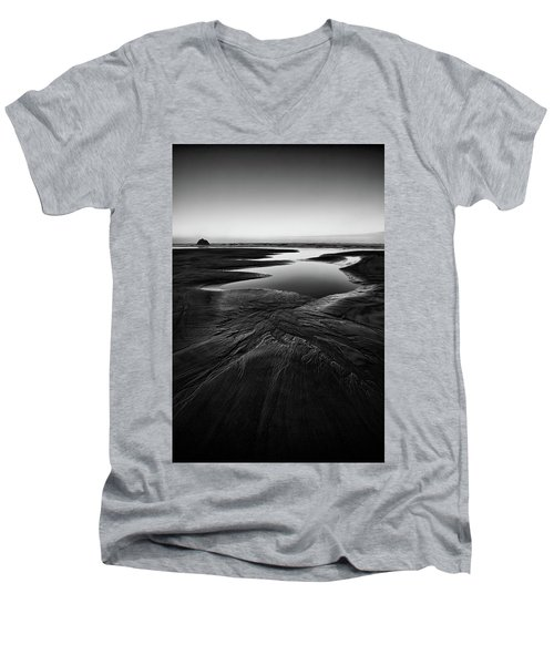 Men's V-Neck T-Shirt featuring the photograph Patterns In The Sand by Jon Glaser