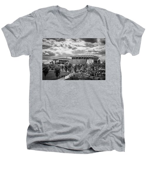 Paul Brown Stadium Black And White Men's V-Neck T-Shirt by Scott Meyer
